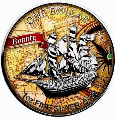 2016  Cook Islands Sailing Ship Bounty Compass 1Oz .999 Colorised Silver Coin