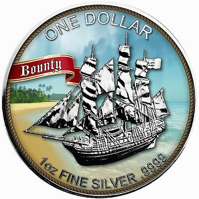 2017 Cook Islands Sailing Bounty 1 Oz .999 Colorised Silver Coin