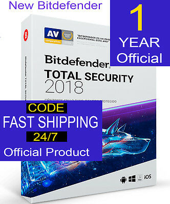 Bitdefender Total Security 2017 5PCs  1-Year  Genuine Fast shipping CODE OFFER