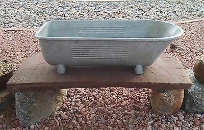 Rare Victorian Galvanized Steel Footed Baby Bathtub Child's Bath Tub VERY COOL