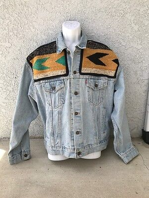 Original Customized Levis Denim Jacket With Navajo (Rug) Weaving Mens Large