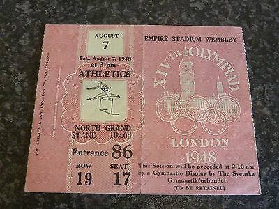London 1948 Olympic Games August 7Th 3Pm Athletics Ticket Vgc