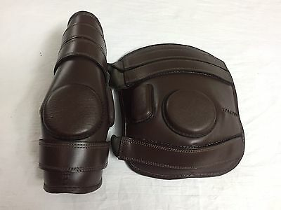 POLO RIDING 3 STRAPS REAL LEATHER KNEE Guard-BLACK,BROWN & Tan