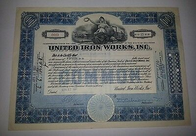 United Iron Works 1927 Delaware Stock Certificate cancelled