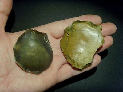Palaeolithic - Two mousterian discoid scrapers -  Rare UK C.60,000 BP