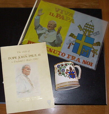 Pope Paul 1982 visit collectables (Tankard, Mass Book & Welcome Flag)