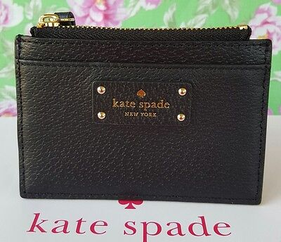 New Kate Spade Adi Grove Street Leather  Card & Coin Case Wallet  in Black.