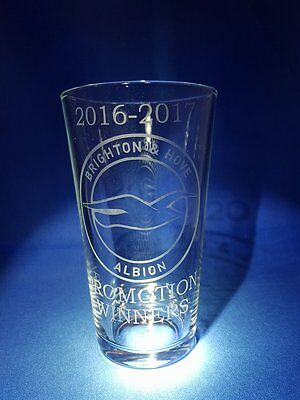 2016 -2017 BRIGHTON & HOVE ALBION PROMOTION WINNERS Etched On A Pint Glass