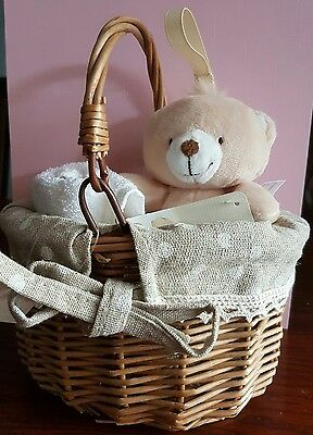 forever friends teddy bear hanging rattle in basket with flannel baby gift