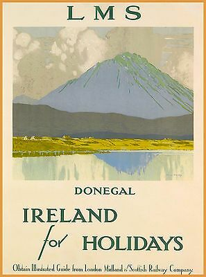 County Donegal Town Holidays Ireland Vintage Irish Travel Advertisement Poster