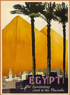Egypt Land of Pharoahs Pyramids Vintage Egyptian Travel Advertisement Art Poster