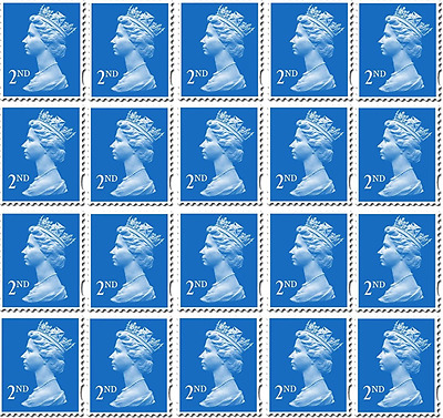 100 x 2nd Second Class Royal Mail Stamps, Brand New, Self Adhesive.