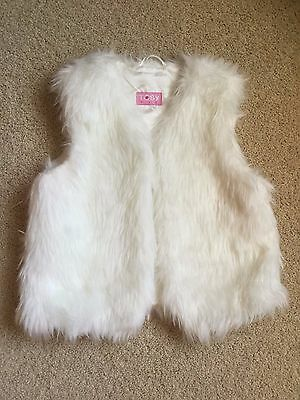 TOBY NYC Girl's Faux Fur Vest One Size ( 7 - 14 ) White Lined Super Soft  GREAT!