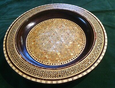 Mosaic Abalone Mother of Pearl Inlay Wood Decorative Plate Charger Arabic Egypt*