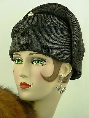 VINTAGE HAT 1930s FRENCH, BLACK RIBBED SISAL DAY HAT, HALO TOP, PEARLY JABOT PIN