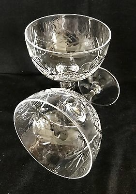 BEAUTIFUL VINTAGE LEAD CRYSTAL CHAMPAGNE SAUCERS/COUPES x 2 c1940 Wedding Toast
