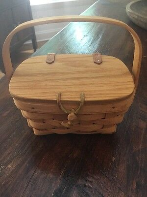 LONGABERGER woven RECIPE BASKET Purse Hinged Lid toggle swinging HANDLE 1995