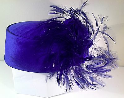 "Fancy Silk & Feathered Ladies Pillbox ""Church"" Hat - Royal Blue Size 7"