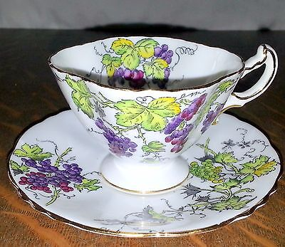 Hammersley & Co Royal Albert Bone China Grapes Cup and Saucer England RARE