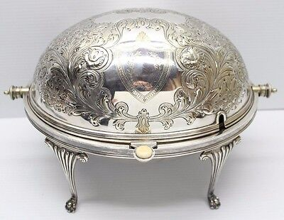Antique Daniel Arter D & A Silver Plate Roll Top Dome Tureen Warmer Art Nouveau
