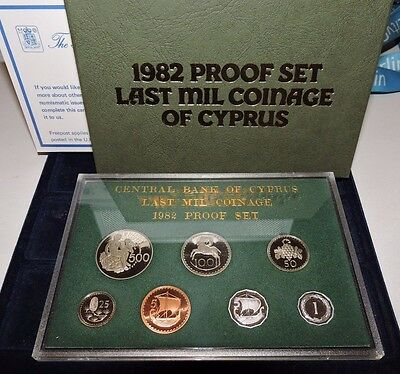 CYPRUS 1982 LAST MIL COINAGE PROOF SET IN ORIGINAL PACK by ROYAL MINT