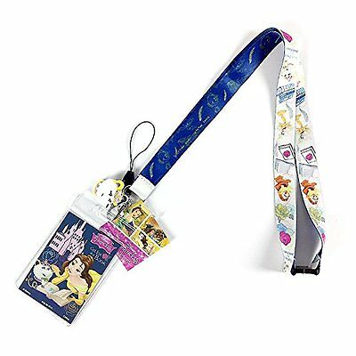 Disney Beauty And The Beast Lanyard With Soft Dangle  Charm & Card Holder