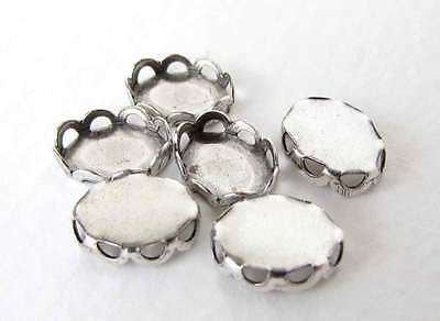 Cameo Settings Lace Edge Filigree Antiqued Silver Ox Bezel 8x6mm