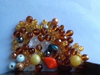 Vintage and modern beads for beaders jewellery making amber colour beads UK