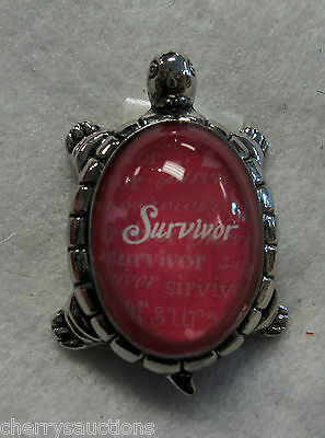 L survivor TURTLE CHARM FIGURINE Inspirational lucky courage Message cancer ganz
