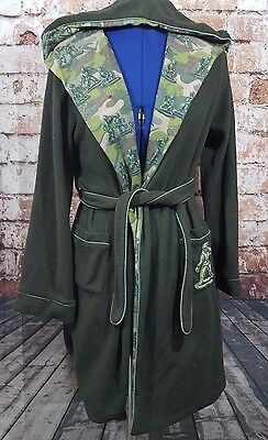 Nick & Nora Army Man Robe Size XL 16/18 Hooded Bathrobe Camo Green
