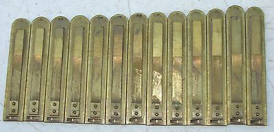 13 Sub Base Large Brass Reeds from Hillstrom Pump Organ Antique Used Part Repair