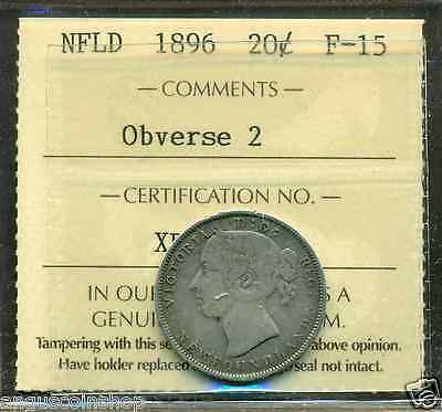 Canada Newfoundland NFLD 1896 Obverse 2, 20 Cents Silver Graded ICCS F-15