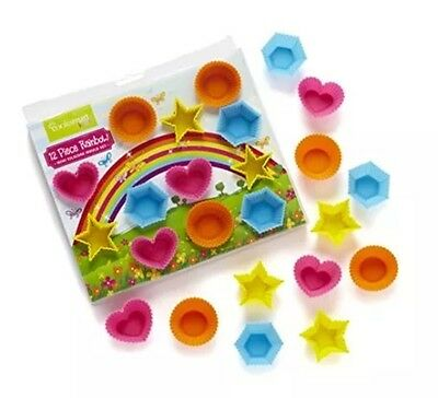 Cooksmart Kids 12-Piece Silicone Rainbow Mini Mould Set, Multi-Colour