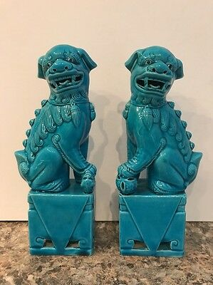 Vintage Pair of 7+ Chinese Peacock Blue Porcelain Foo Dogs Statue Feng Shui Nice