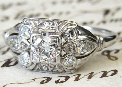 JABEL Vintage Art Deco Platinum Transitional Cut Diamond Ring (VIDEO VIEW)