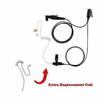 Extra Coil with 1-Wire Clear Coil Acoustic Headphone for Tytera MD-2017 MD-398