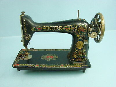 Antique Singer Sewing Machine Model 14 1910 Gold Accent WORKS G0264667