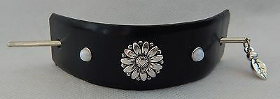 Black Leather Flower Barrette Accessories New Silver Hair Stick Fashion Leaf