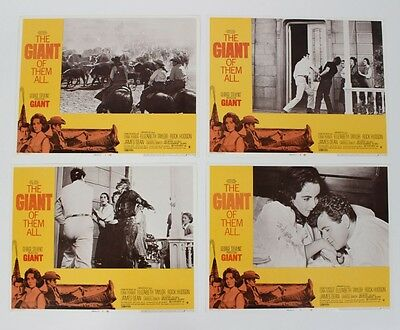 1956 (1970-R) Giant Movie Film Lobby Cards Lot of (4) Starring James Dean, Ro...