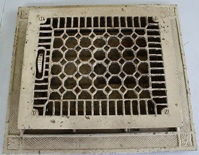 ANTIQUE VICTORIAN CAST IRON HEAT REGISTER GRATE 12 X 14 w 16 18 EXTENDING PLATE