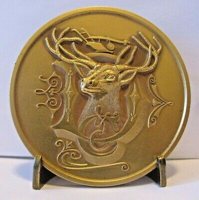 John Deere 1884 Deer Head & D Trademark Logo GOLD Belt Buckle 1981 LTD ED  14KT