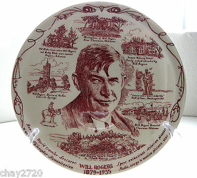 Vtg Will Rogers 1879-1935 Commemorative Plate  10.25 Inches By Vernon Kilns Usa