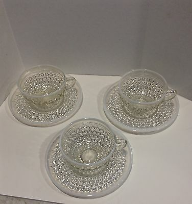 Opalescent Moonstone cup and saucer depression glass (4 available)