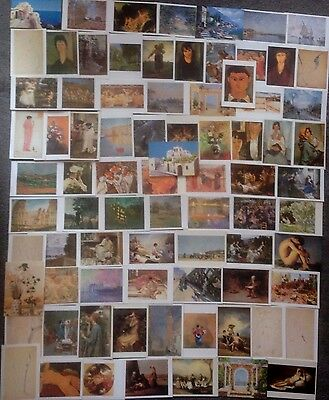 LOT OF 80 ART POSTCARDS OF 19th CENTURY PAINTINGS