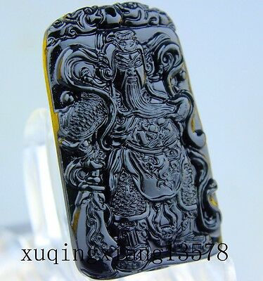100% Chinese black green Jadeite jade pendant necklace hand-carved guanyu