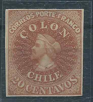 CHILE 1910 Dr. HAHN REPRINT FIRST ISSUES 20 cts Columbus brown engraved