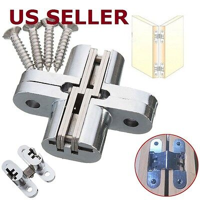2PCS Hidden Hinge Stainless Steel Invisible Hinges Concealed Wooden Silver