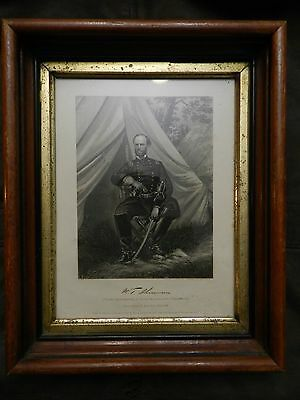 Civil War Print General William Tecumseh Sherman Johnson, Fry &Co Autograph 1864