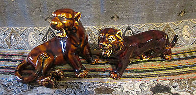 50's - 60's Vintage Mint Pair of Chinese Ceramic Tigers with Amazing Brown Glaze