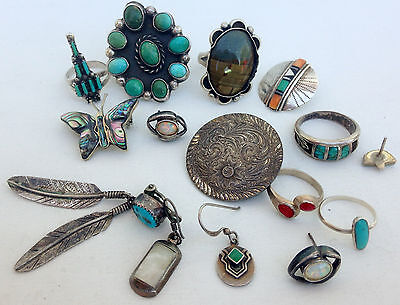 HUGE Vintage Turquoise Blossom Ring Zuni Earrings Feather Native Jewelry Lot